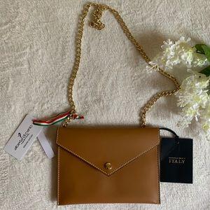 NEW ~ Italian Leather Tan Crossbody Bag